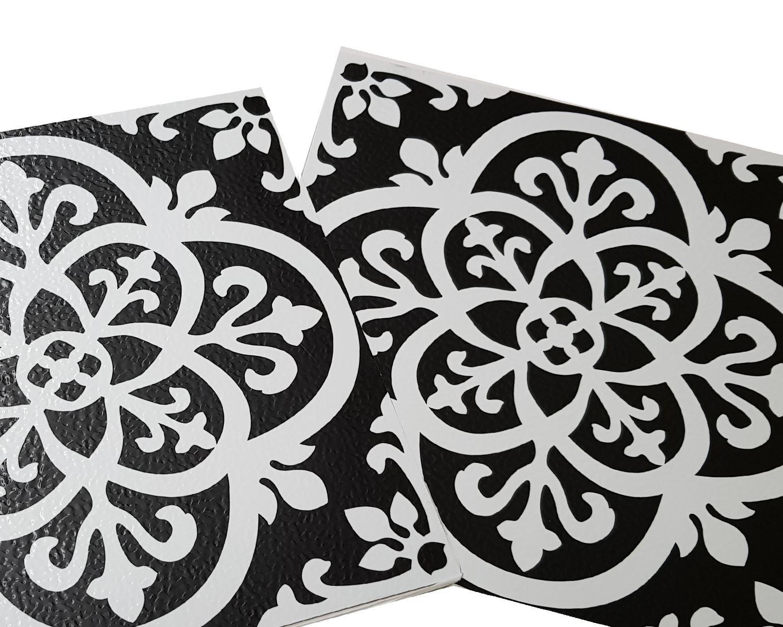 Floorpops Gothic Pack Of 10 Peel Amp Stick Vinyl Floor Tiles Black White Pattern Ebay
