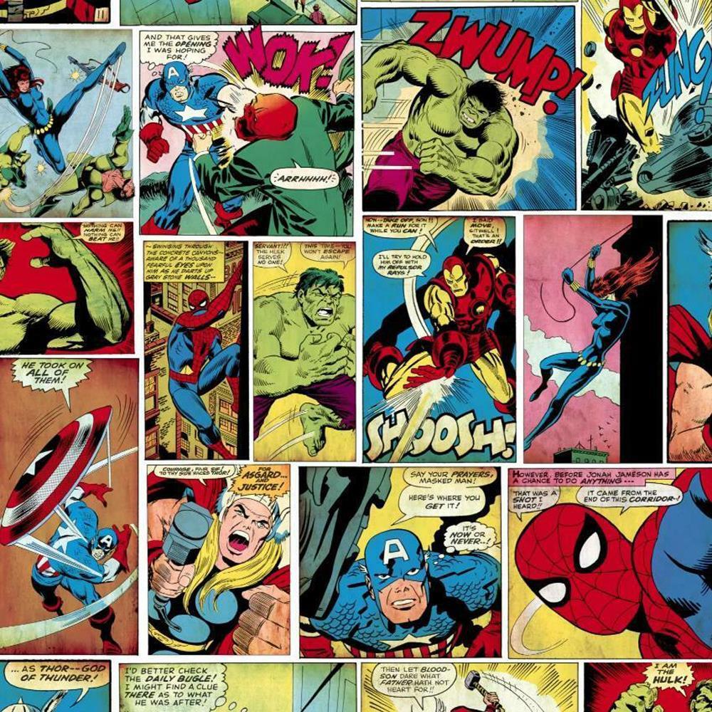 Muriva Marvel Comic Strip Wallpaper Hulk Captain America Spiderman
