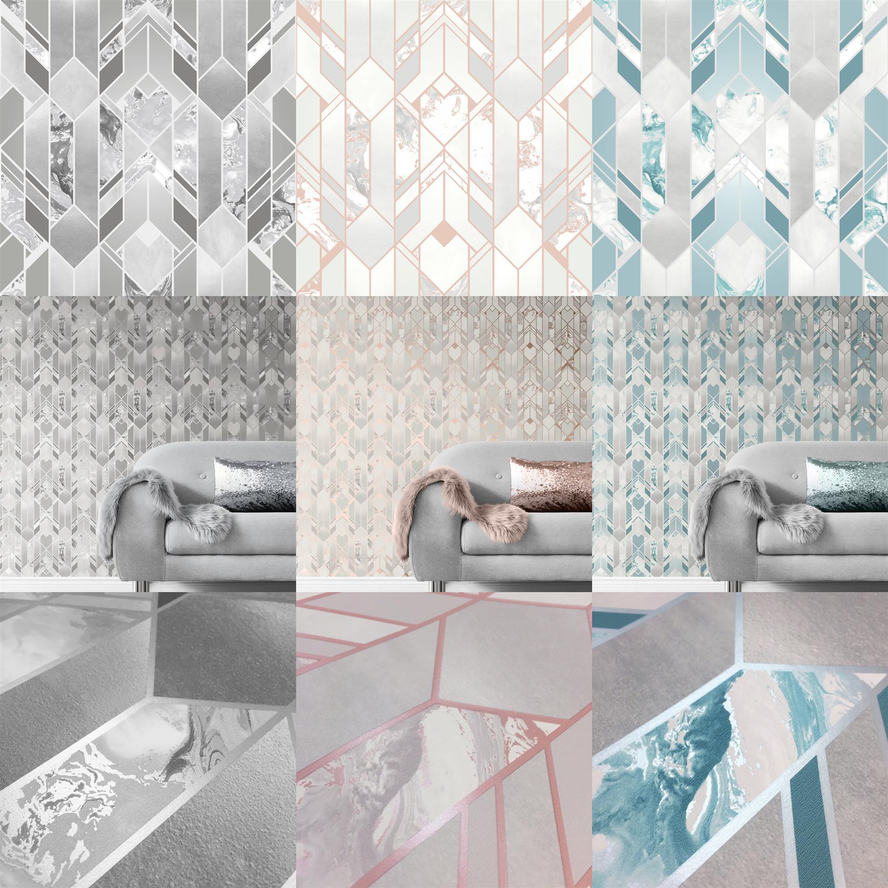 Elixir Geometric Marble Wallpaper Grey Rose Gold Teal Silver Metallic Muriva Ebay