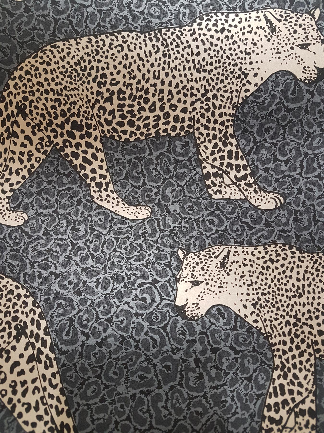 Silver Grey Gold Black Leopard Wallpaper Metallic Shimmer Animal Print Rasch
