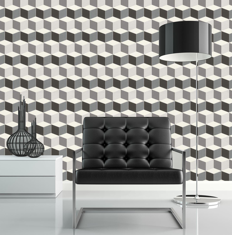 3d Effect Geometric Square Wallpaper Paste Wall Vinyl Black White