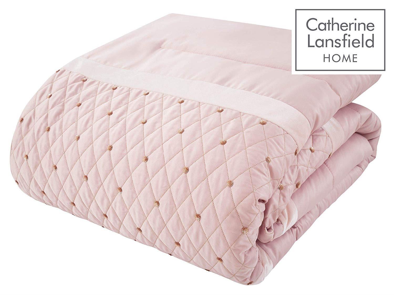 Catherine-Lansfield-lentejuelas-Cluster-Blush-Conjunto-de-Edredon-Reversible-Ropa-De-Cama-Cortina miniatura 4