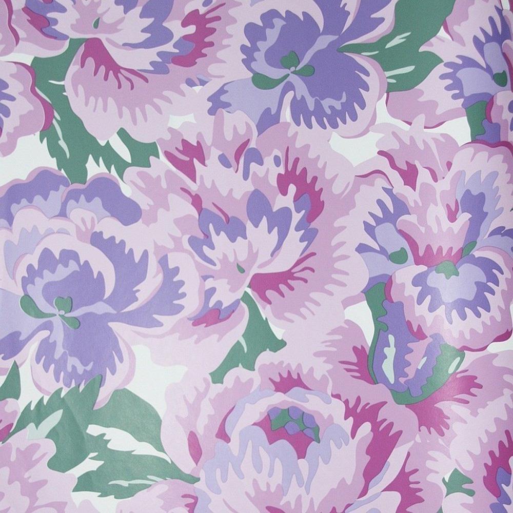 East West Pink 70s Retro Vintage Floral Wallpaper Flowers Purple