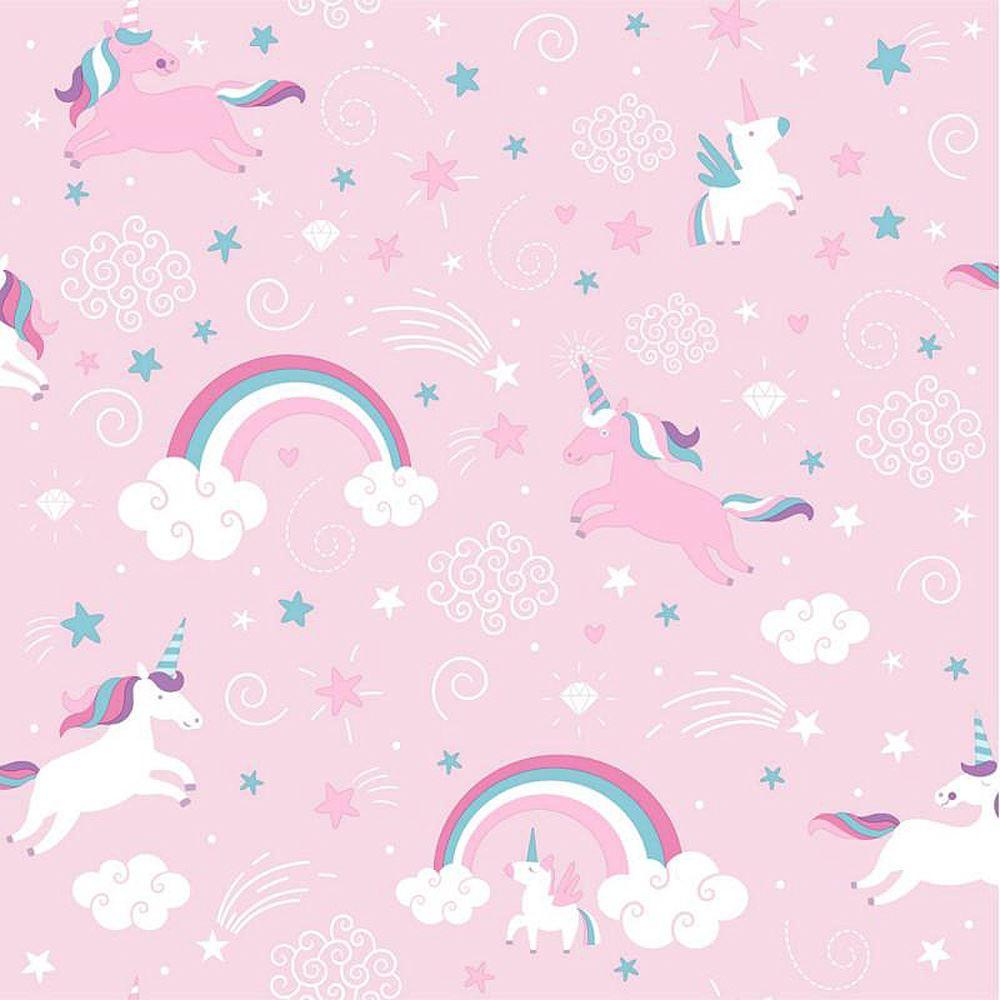 Details About Pink Unicorn Wallpaper Girls Kids Girly Rainbow Fairytale Stars Clouds Ugepa