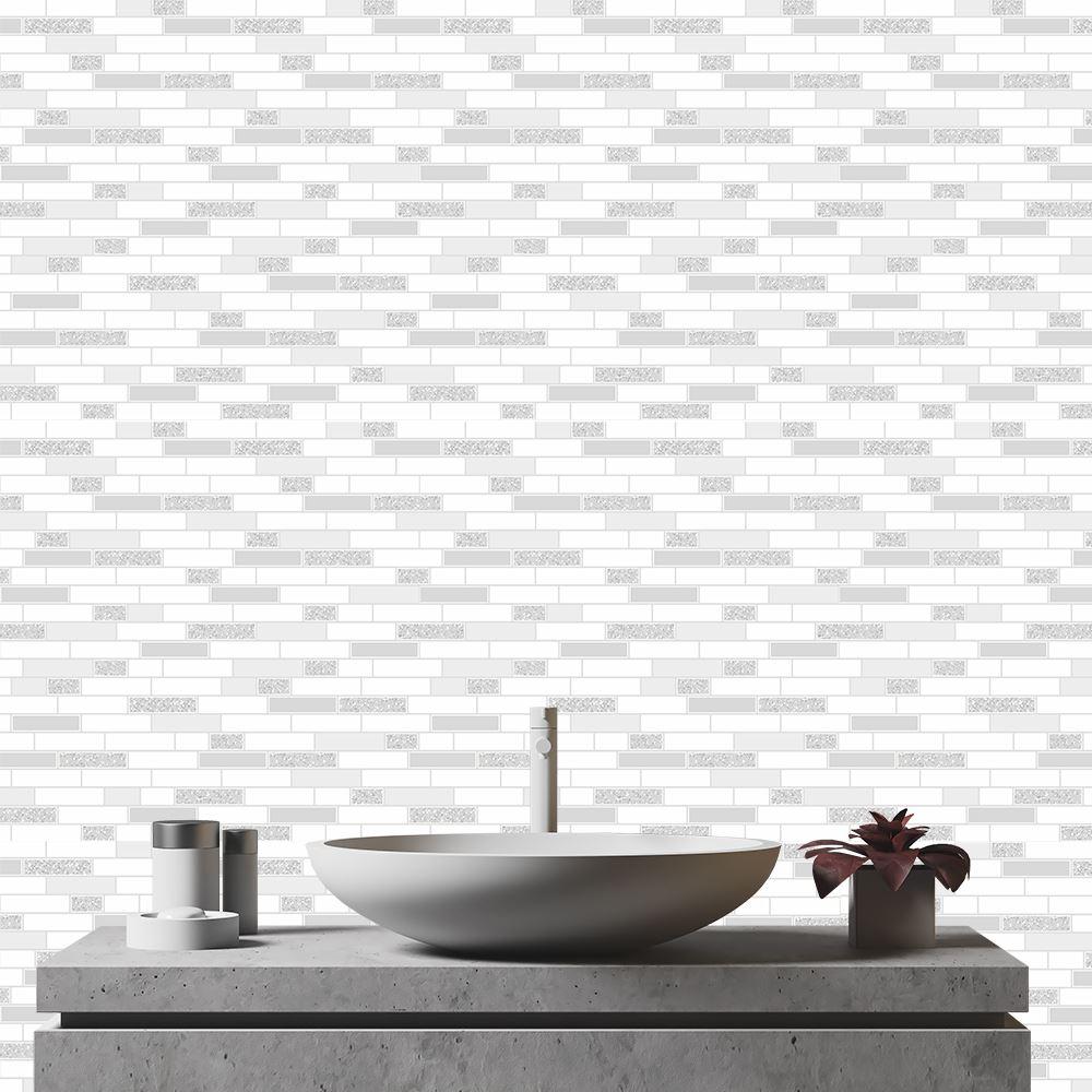 Oblong-Stone-Tile-Kitchen-Bathroom-Wallpaper-Vinyl-Silver-Glitter-Holden-Decor thumbnail 12