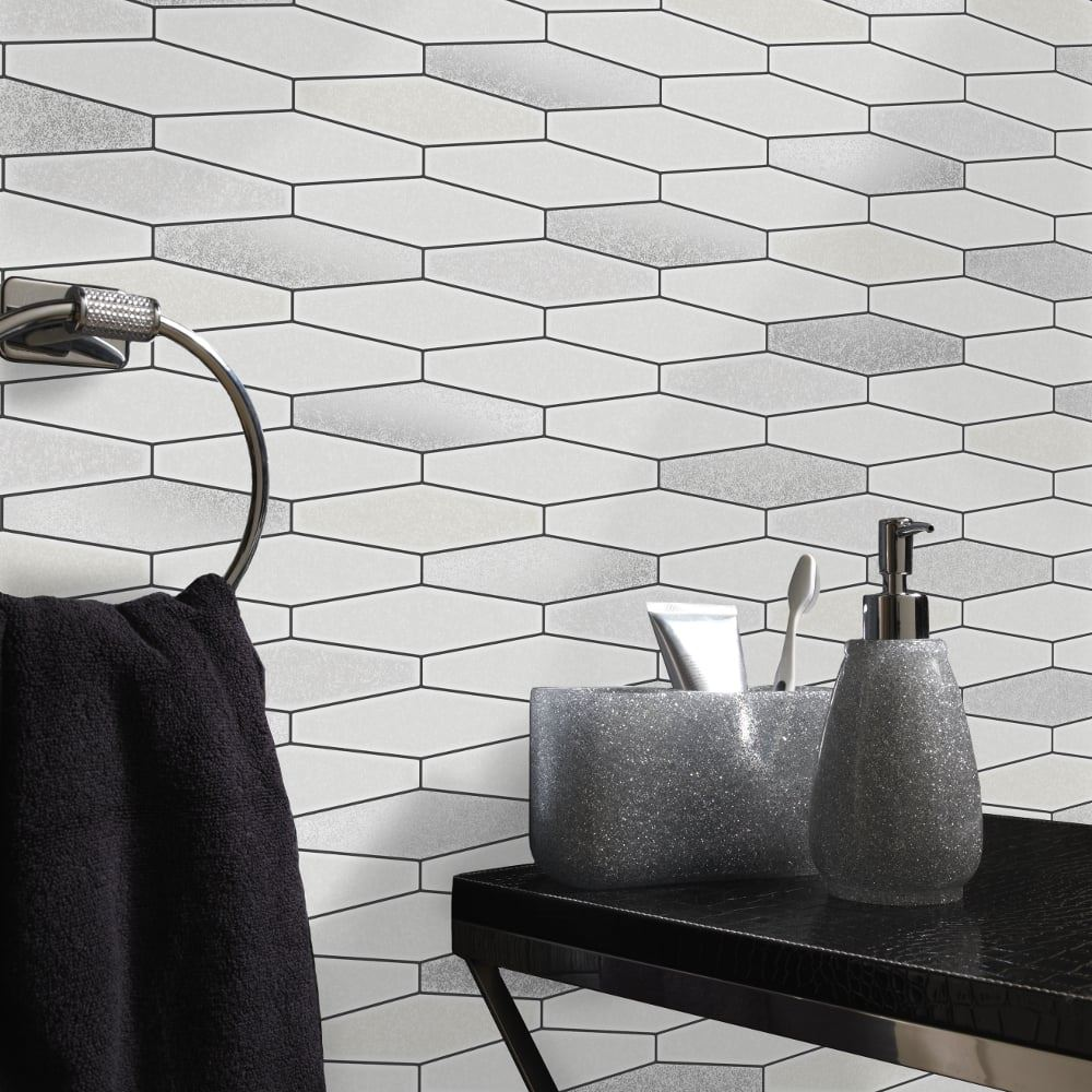 Kitchen Bathroom Tile Stone Wallpaper Washable Vinyl Black ...
