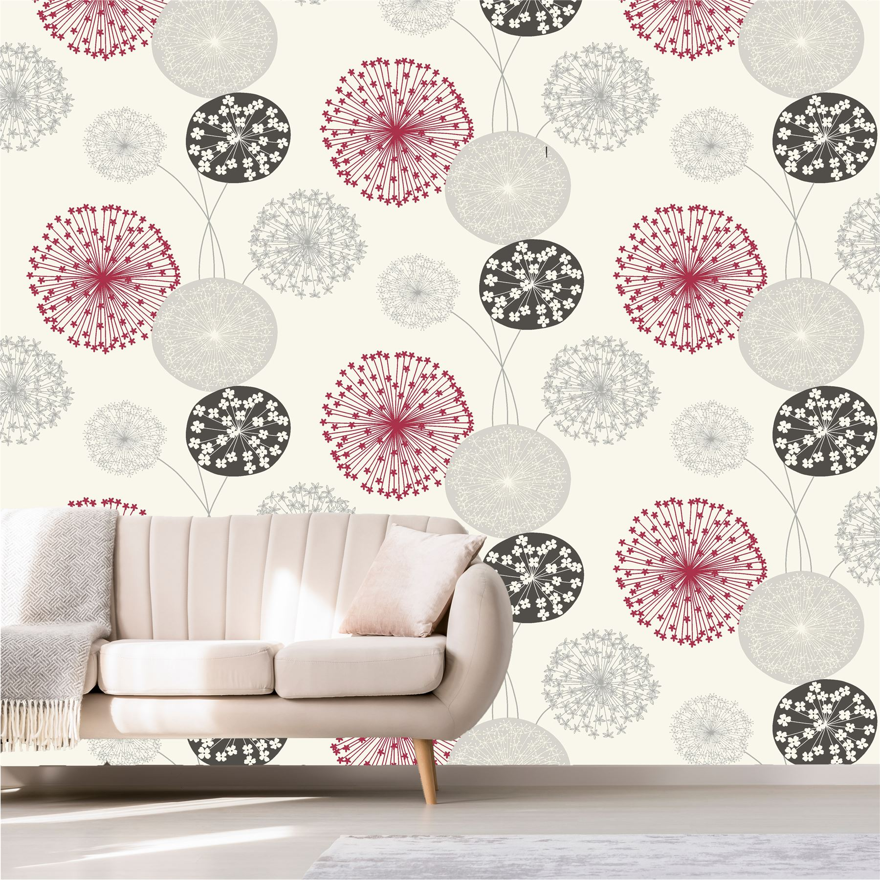 b&q lucienne grey & red floral