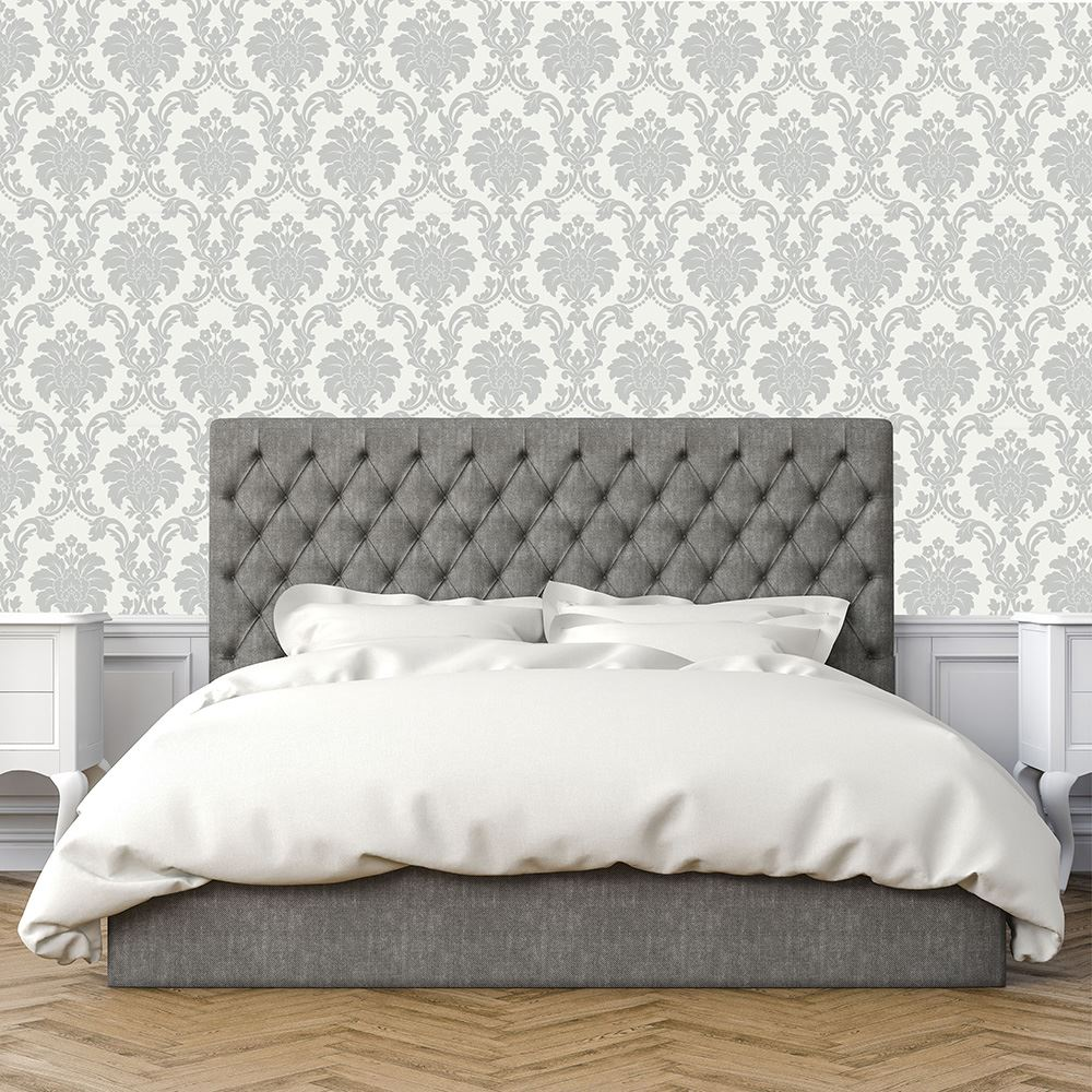 Opera Romeo Damask Feature Wallpaper Arthouse Grey White Heavy Weight Shimmer 5050192693530 Ebay