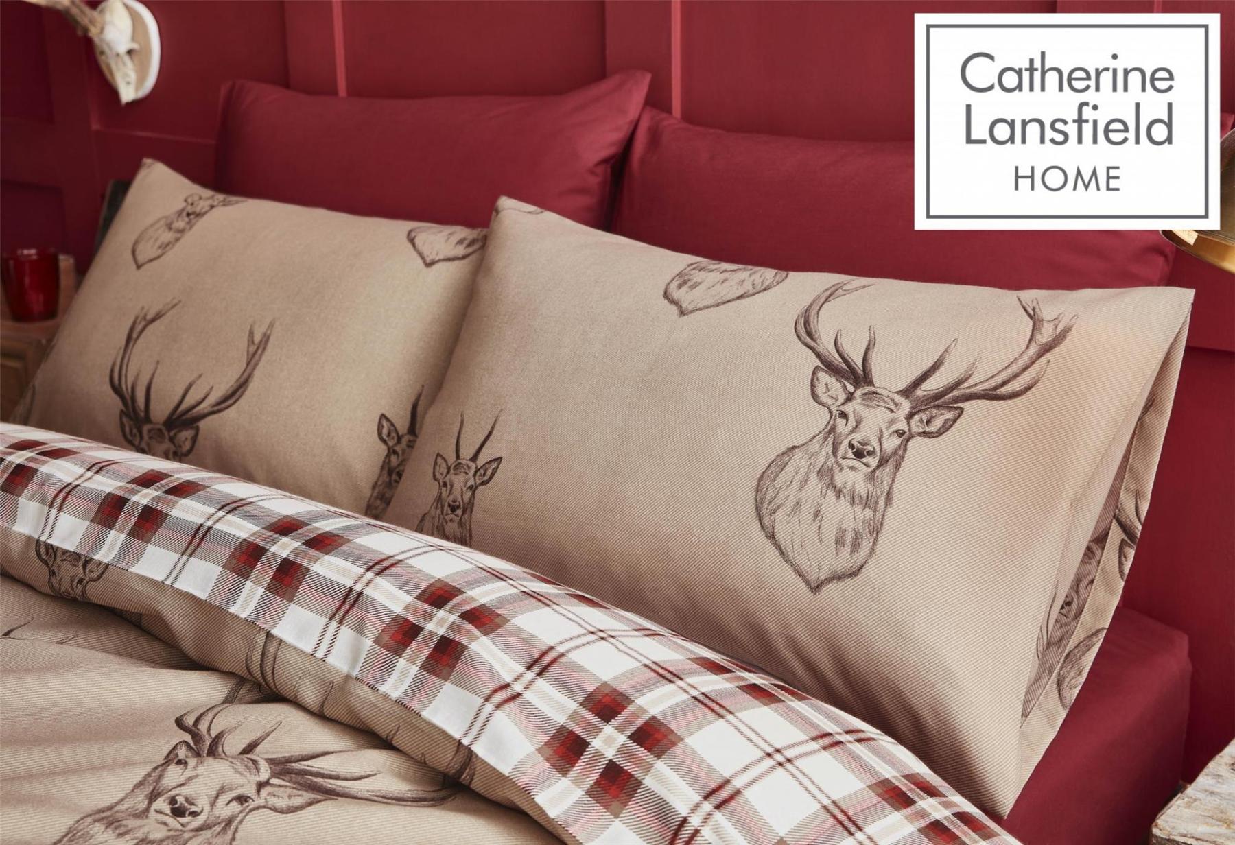Catherine-Lansfield-Duvet-Set-Highland-Stag-Reversible-Check-Bedding-Mushroom thumbnail 17