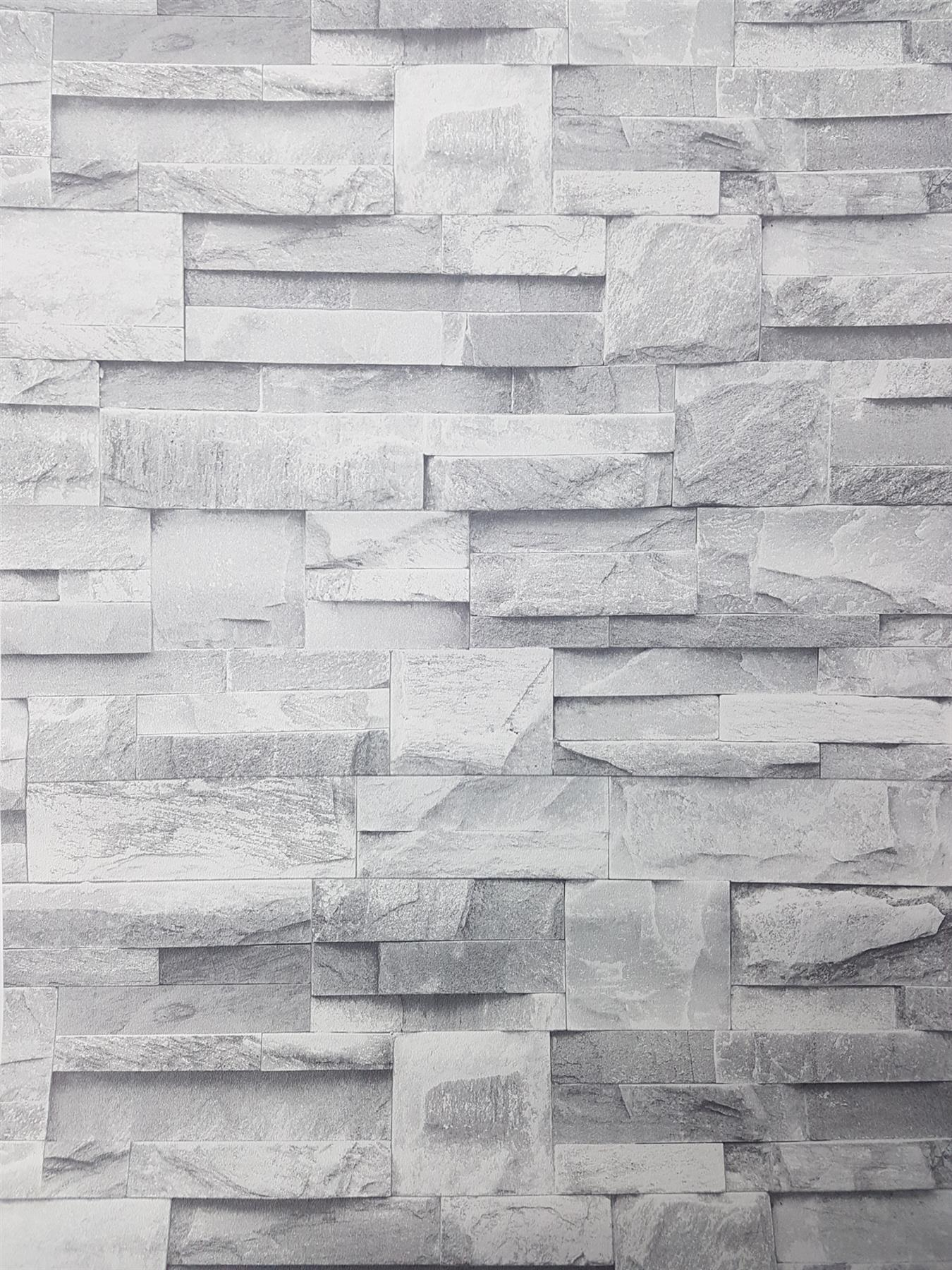 3D Slate Stone Brick Effect Wallpaper Colorful Rock Realistic Vintage Textured