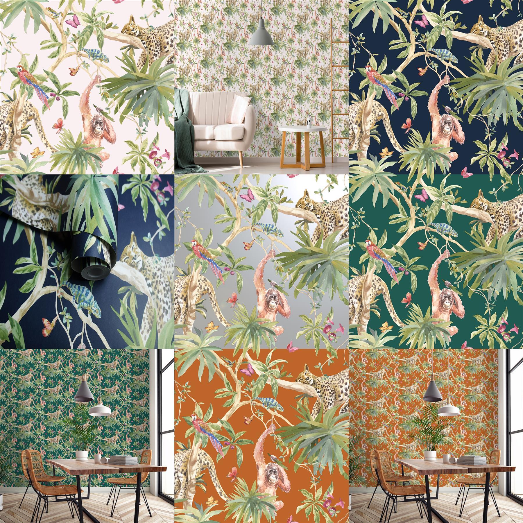 Jungle Animals Wallpaper Tropical Leopard Butterflies Birds Trees