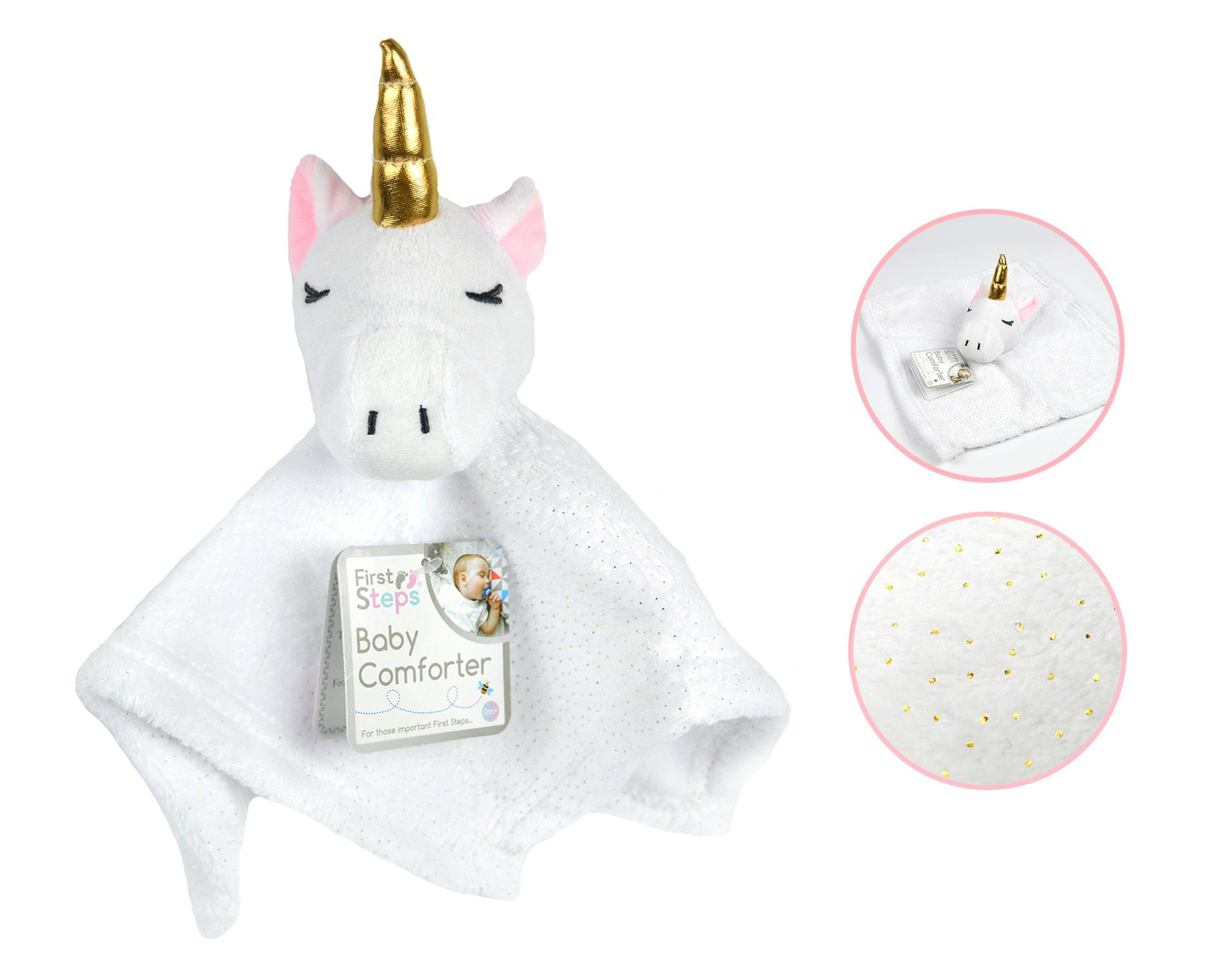 Personalised Babytown Soft UNICORN  Comforter Taggy taggie tag Blanket Gift