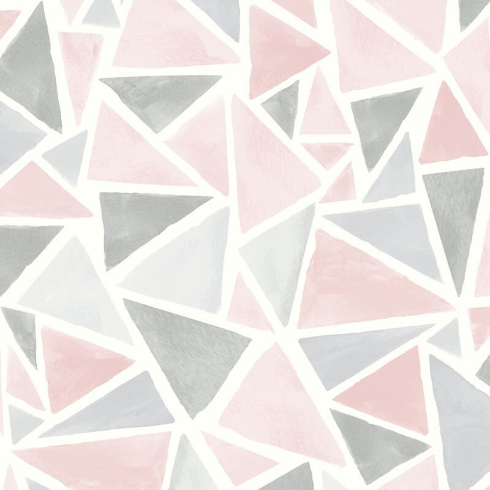 Details About Arthouse Delta Geometric Pink Grey Glitter Sparkle Vinyl Wallpaper Triangles