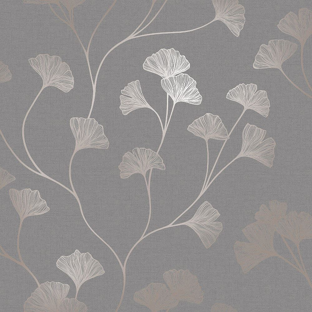 Floral Wallpaper Flowers Grey Rose Gold Metallic Shimmer Holden