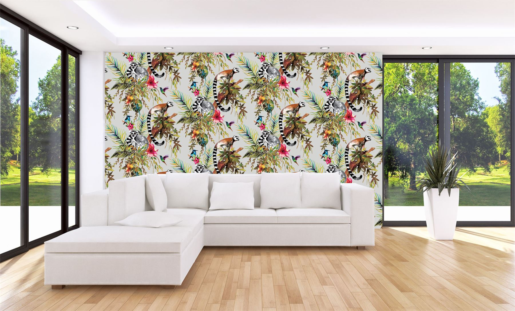 Lemur-Wallpaper-Tropical-Jungle-Birds-Flowers-Floral-Trees-Animals-Holden-Decor