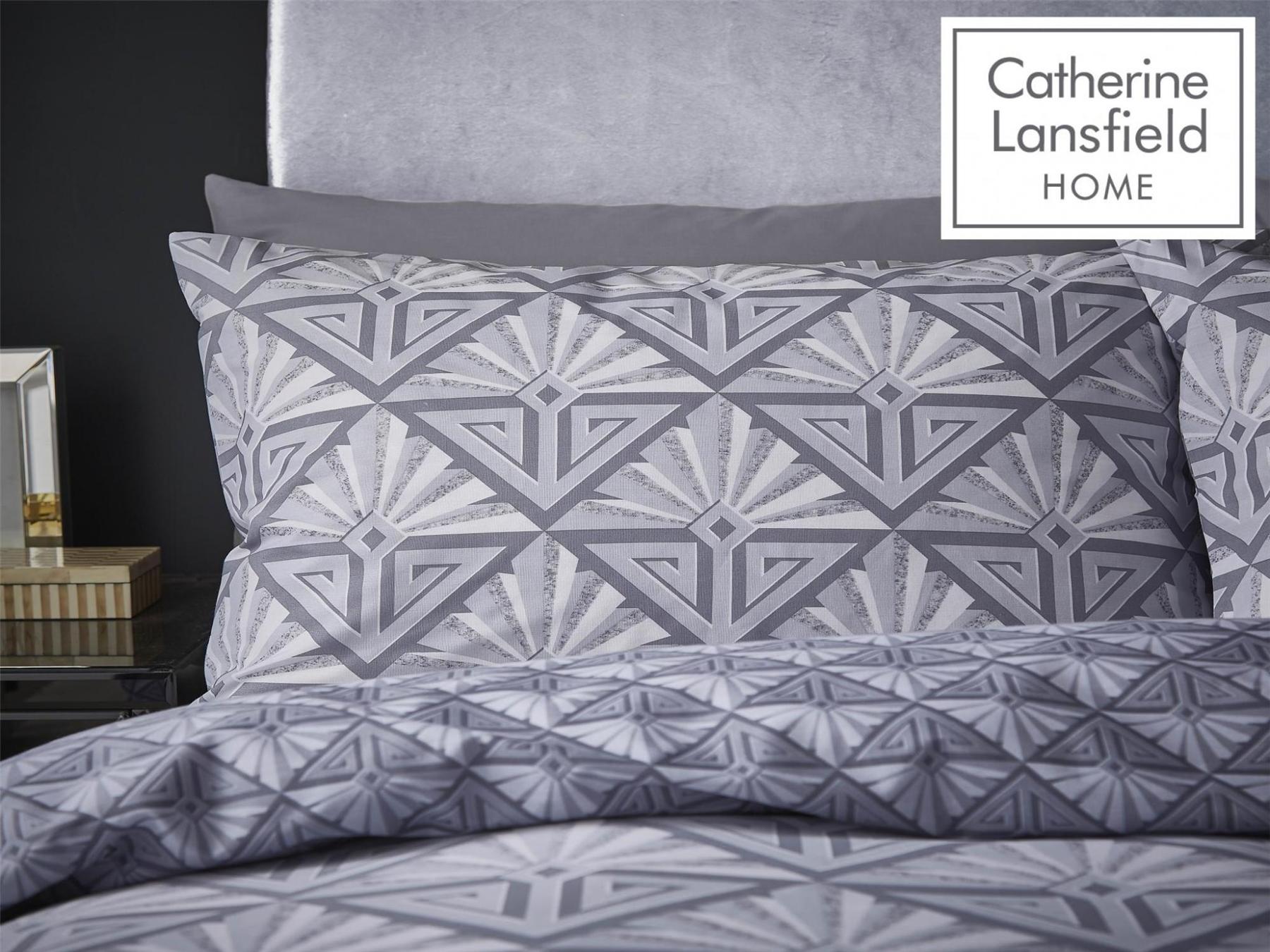 Catherine-Lansfield-Duvet-Set-Reversible-Art-Deco-Grey-Bedding-Pillows-Curtains thumbnail 6