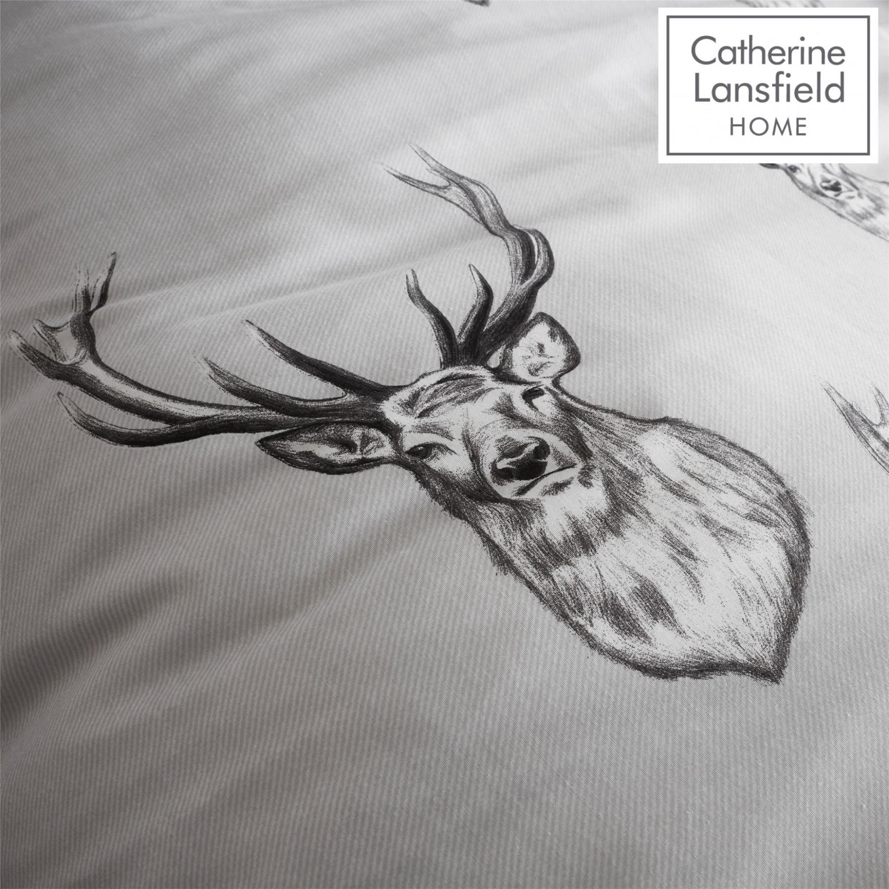 Catherine-Lansfield-Duvet-Set-Highland-Stag-Reversible-Check-Bedding-Grey thumbnail 15