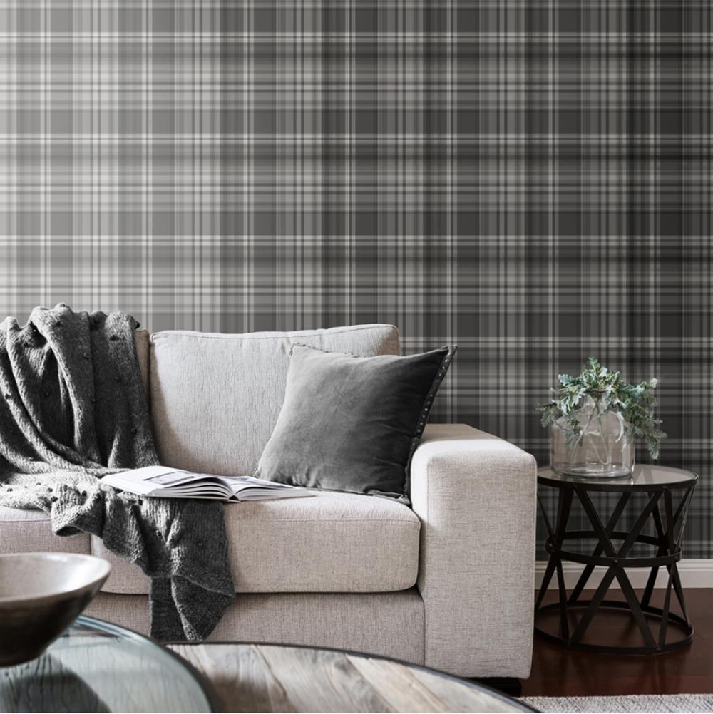 Yellow-Grey-Charcoal-Taupe-Check-Wallpaper-Country-Tartan-Plaid-Muriva-Kelso thumbnail 3