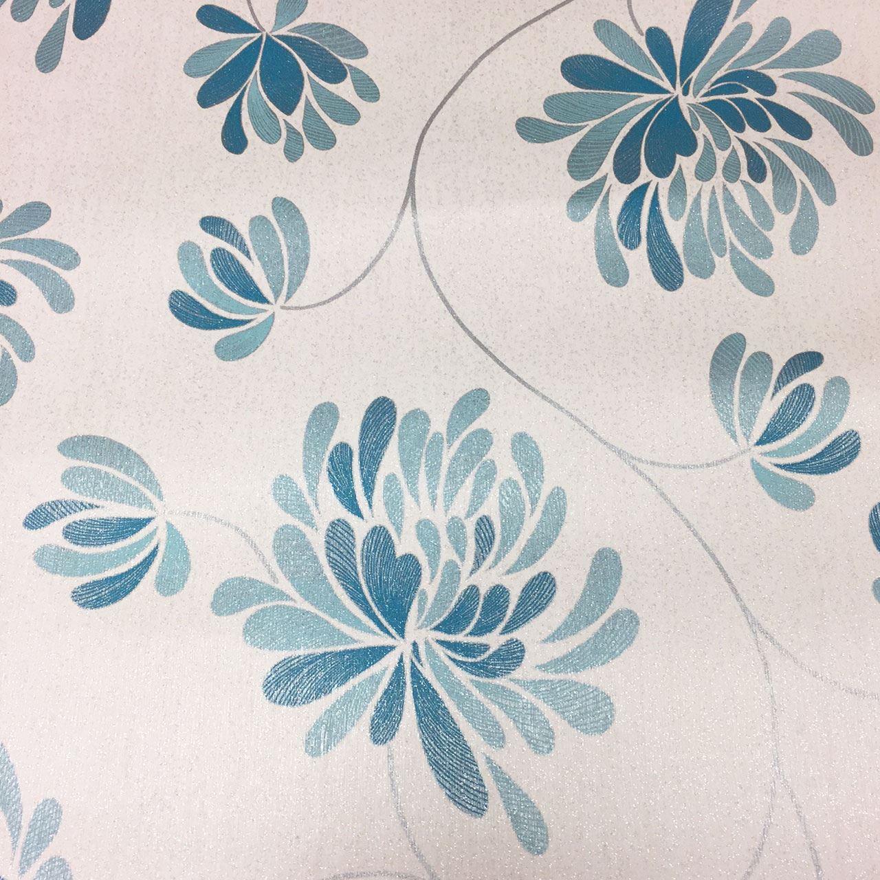 Aqua Teal Blue Silver Flower Floral Wallpaper Glitter
