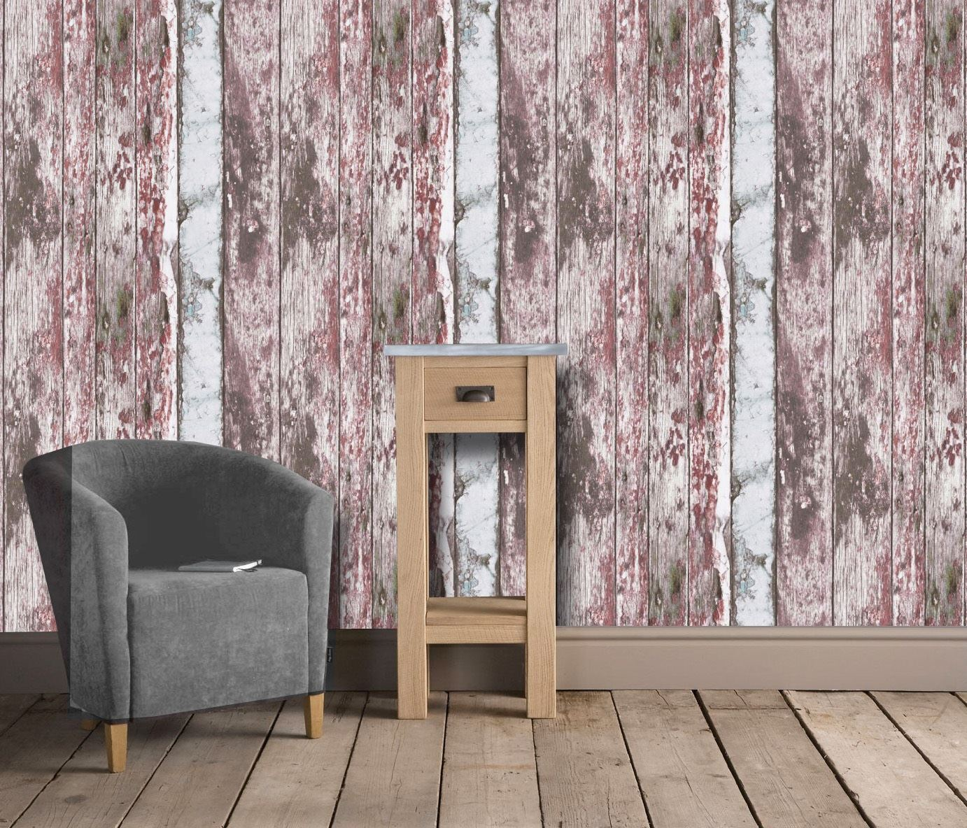 Painted-Rustic-Wood-Wallpaper-Distressed-Red-White-Textured-Vinyl-3-x-Rolls thumbnail 3