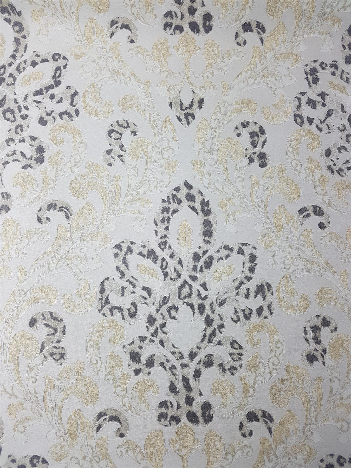 Cream Gold Damask Wallpaper Glitter Charcoal Leopard Textured