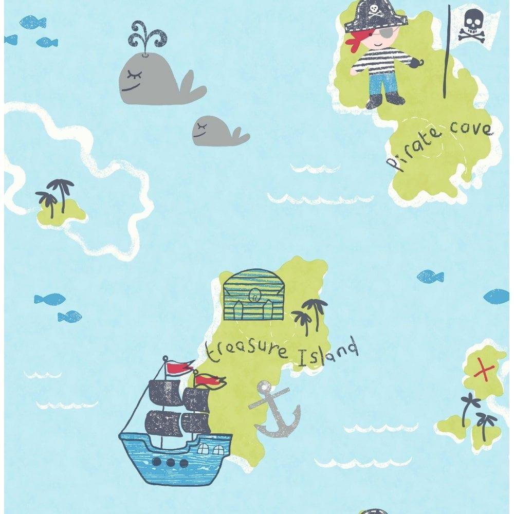 - Carousel Pirates Sea Boat Treasure Map Childrens Boys Kids Blue