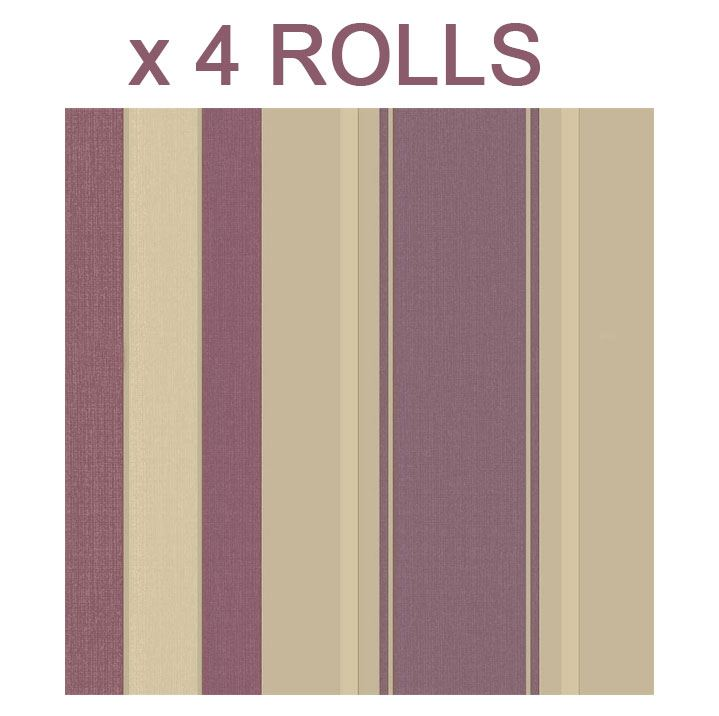 Gold Purple Stripe Wallpaper Vintage Italian Heavyweight Vinyl Metallic X 3 Roll