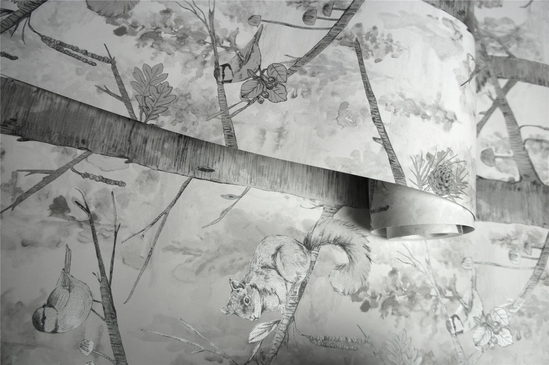 Holden Squirrels Trees Forest Wallpaper Birds Woodland Teal Silver Metallic