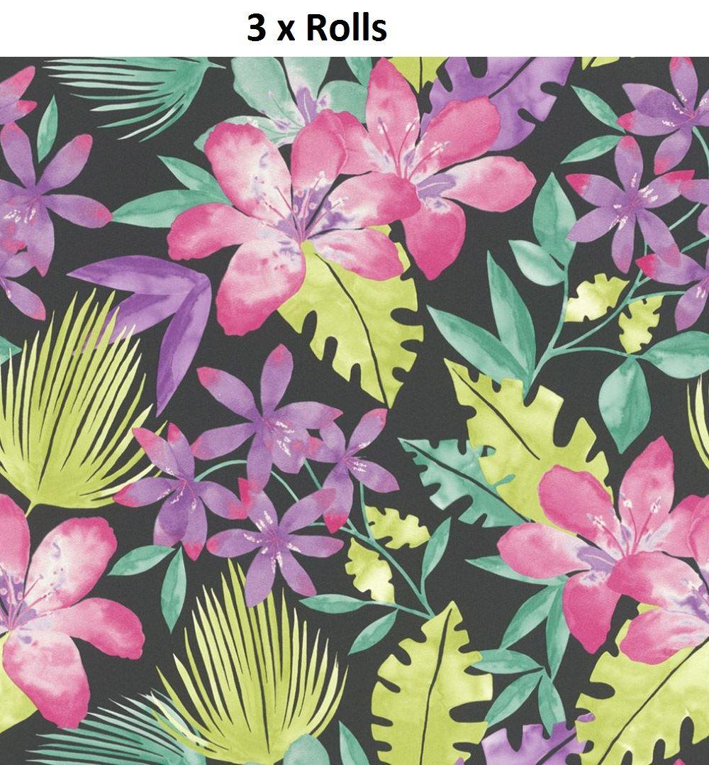 3 X Paradise Flowers Pattern Tropical Floral Leaf Motif Wallpaper