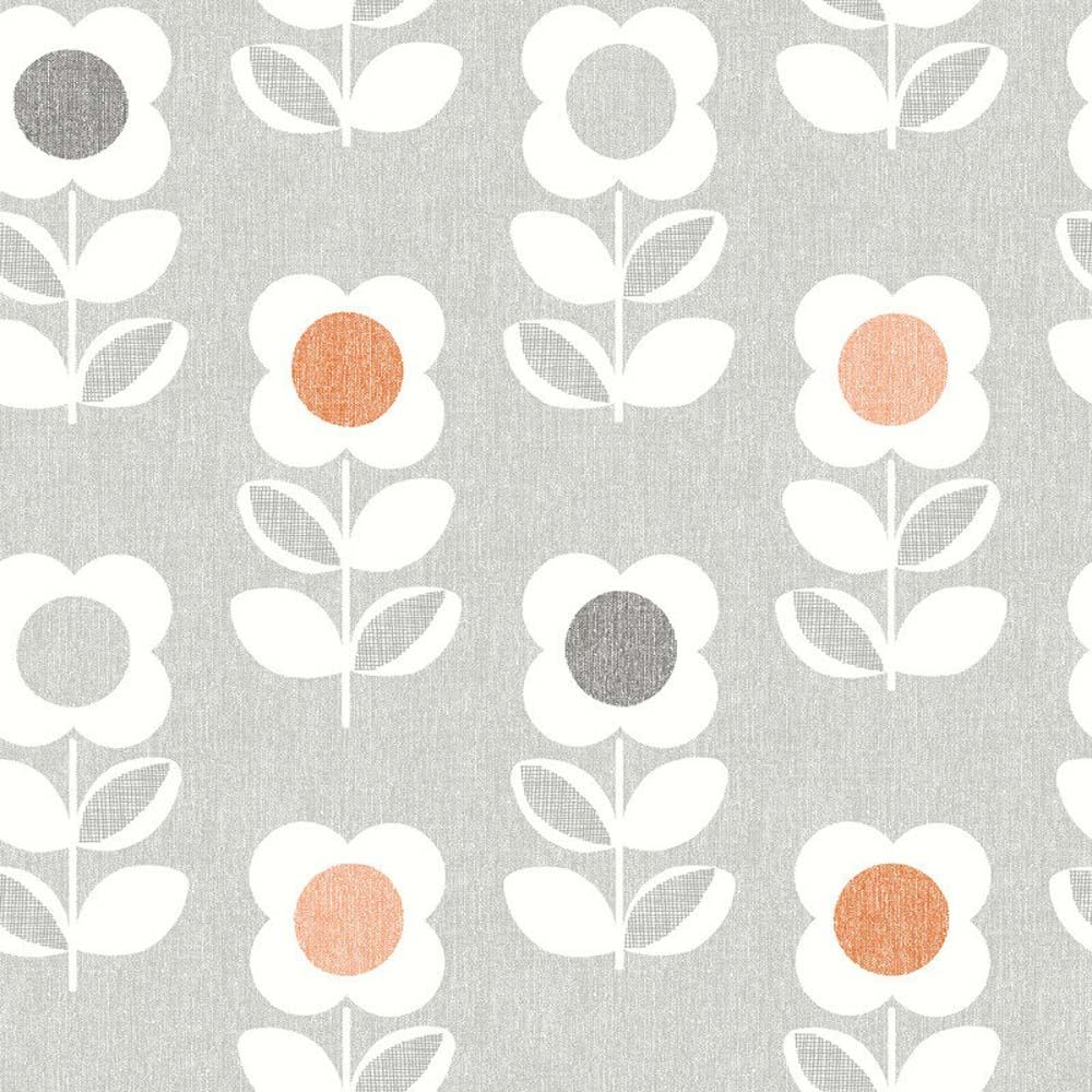 Retro Floral Wallpaper Arthouse Bright Flower Grey Orange Yellow