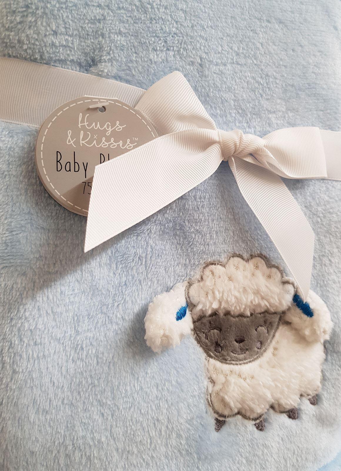 Embroidered-3D-Baby-Blanket-Sheep-Pink-Grey-Blue-Sherpa-Fleece-75x100cm thumbnail 4