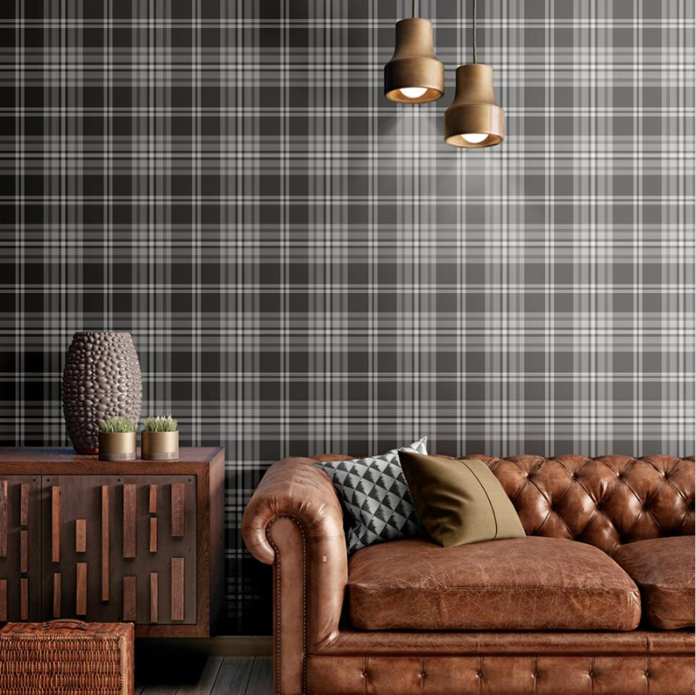 Yellow-Grey-Charcoal-Taupe-Check-Wallpaper-Country-Tartan-Plaid-Muriva-Kelso thumbnail 4