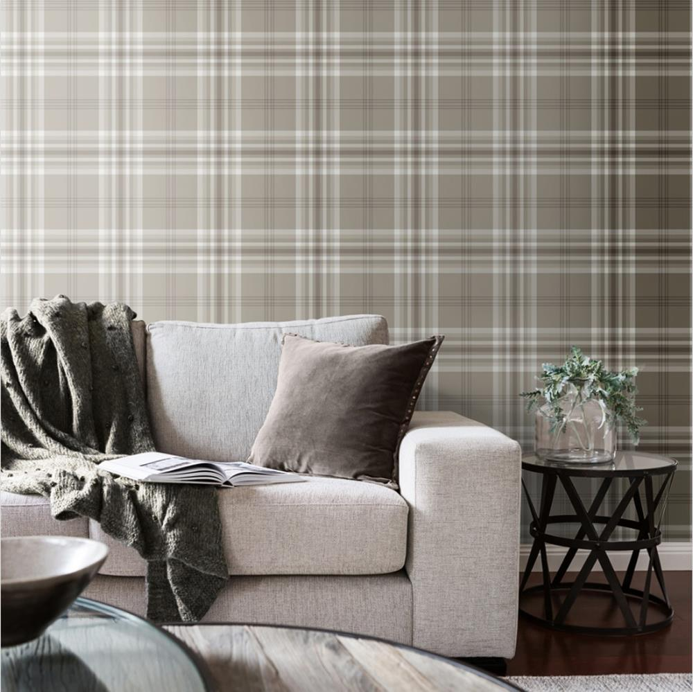 Yellow-Grey-Charcoal-Taupe-Check-Wallpaper-Country-Tartan-Plaid-Muriva-Kelso thumbnail 9