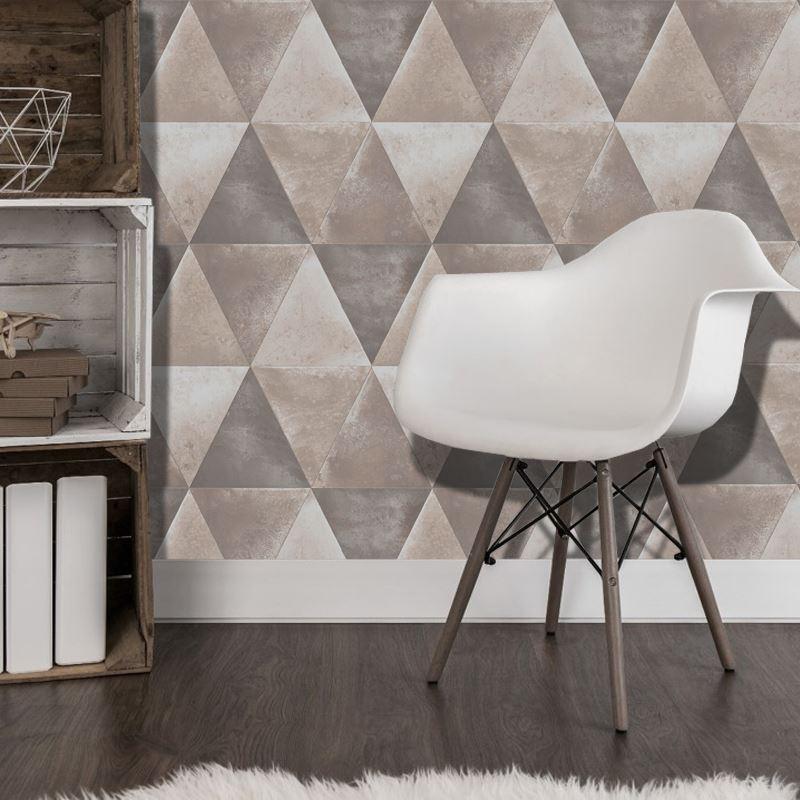 Blue Triangle Wallpaper Geometric Metallic Finish Chic Feature Muriva Caden