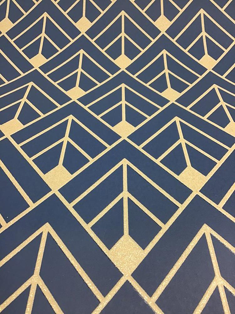 Rasch Diamond Geometric Wallpaper Navy Blue Gold Glitter ...
