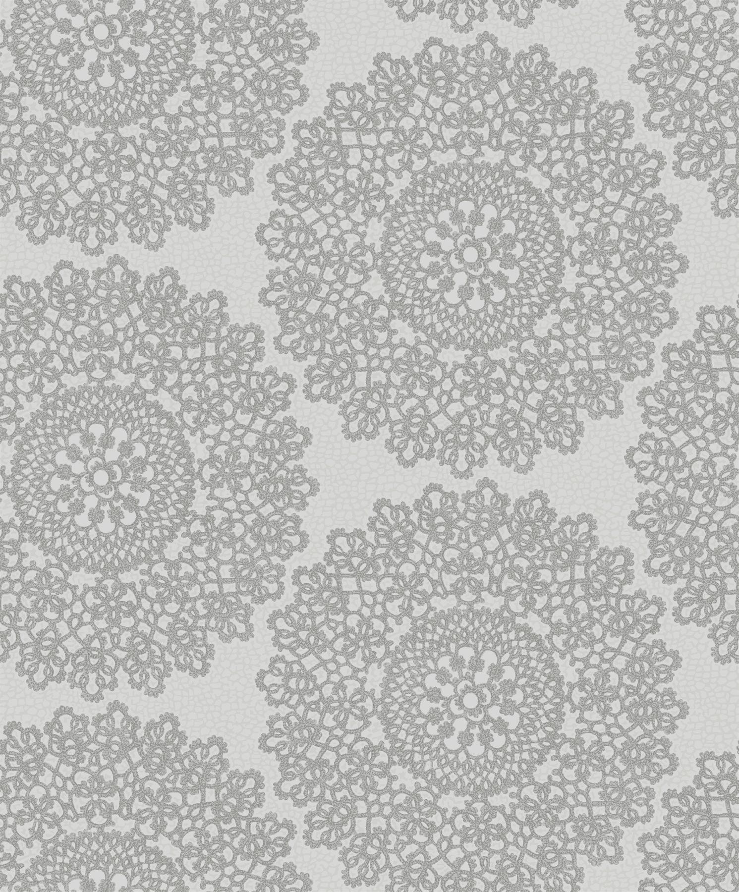 Alexander Damask Wallpaper Floral Ornament Silver Metallic Off White Grey Holden