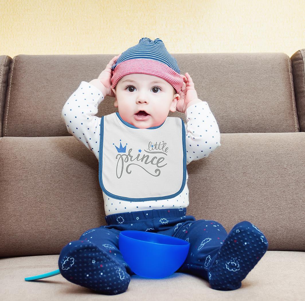 3 Baby Bibs Little Princess Prince Girl Boy Toddler Towel Cotton Blue Pink