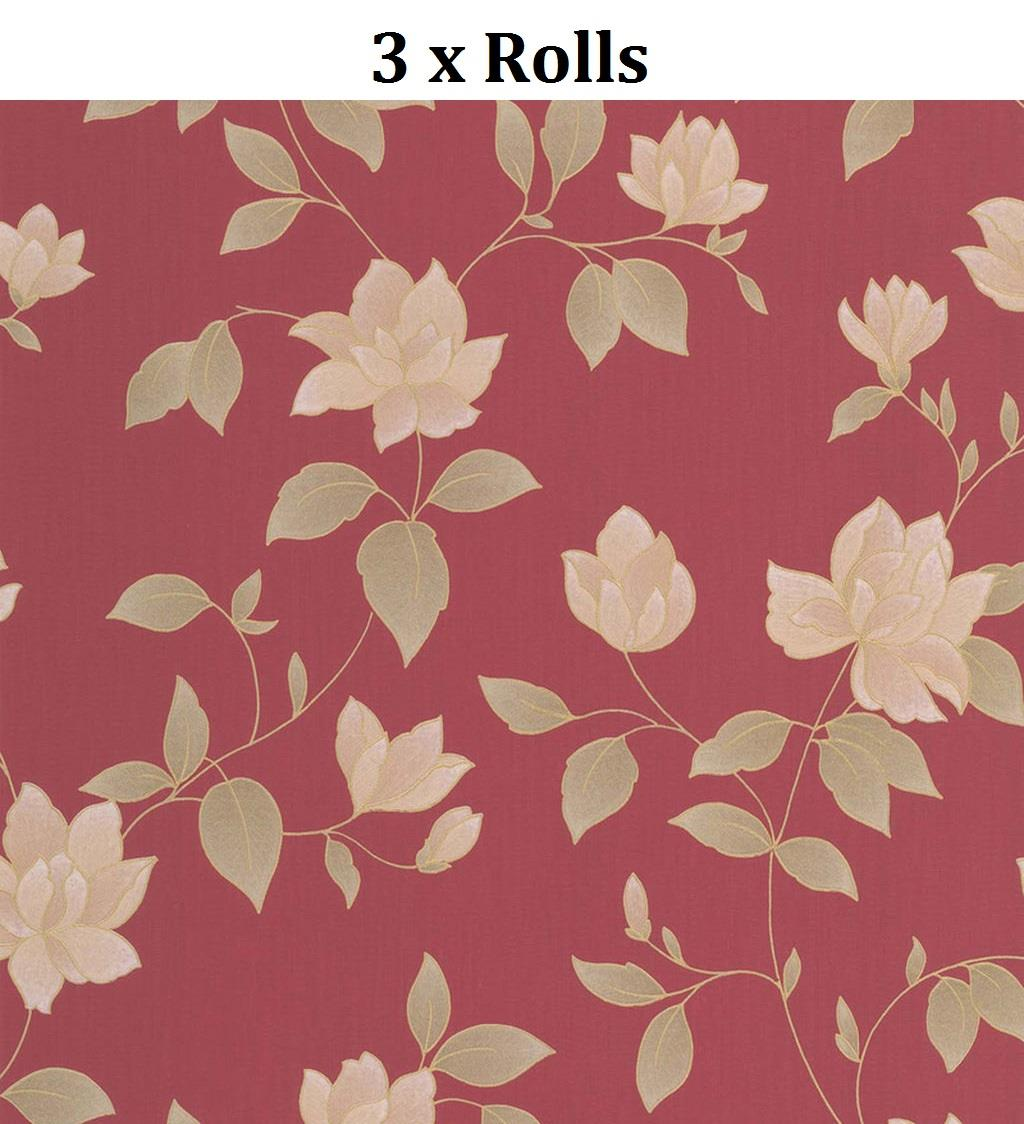 3x Red Gold Floral Wallpaper Metallic Textured Paste Wall Vinyl