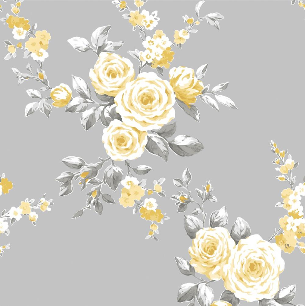 Catherine Lansfield Canterbury Grey Ochre Floral Wallpaper Yellow