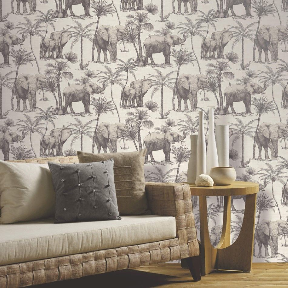 Elephant-Grove-Wallpaper-Jungle-Tropical-Palm-Tree-Bird-Paste-The-Wall-Arthouse thumbnail 10
