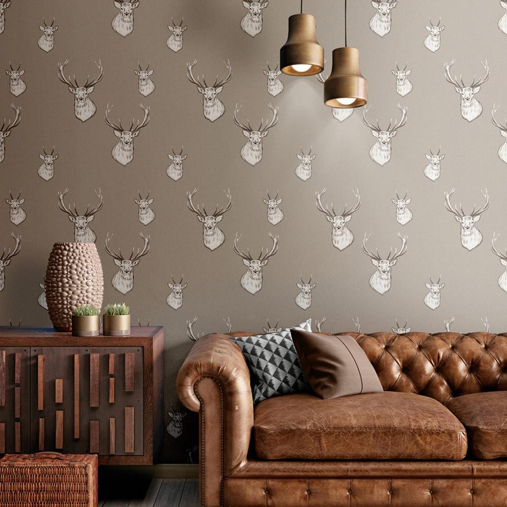 Catherine-Lansfield-Duvet-Set-Highland-Stag-Reversible-Check-Bedding-Mushroom thumbnail 28