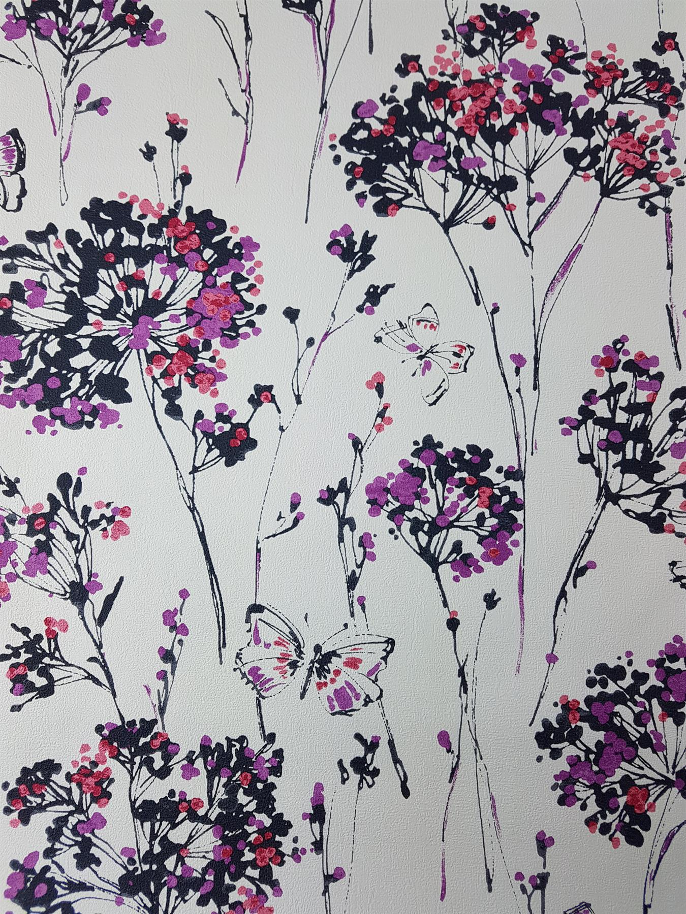 Ugepa Pink White Purple Floral Butterfly Wallpaper Flower Paste