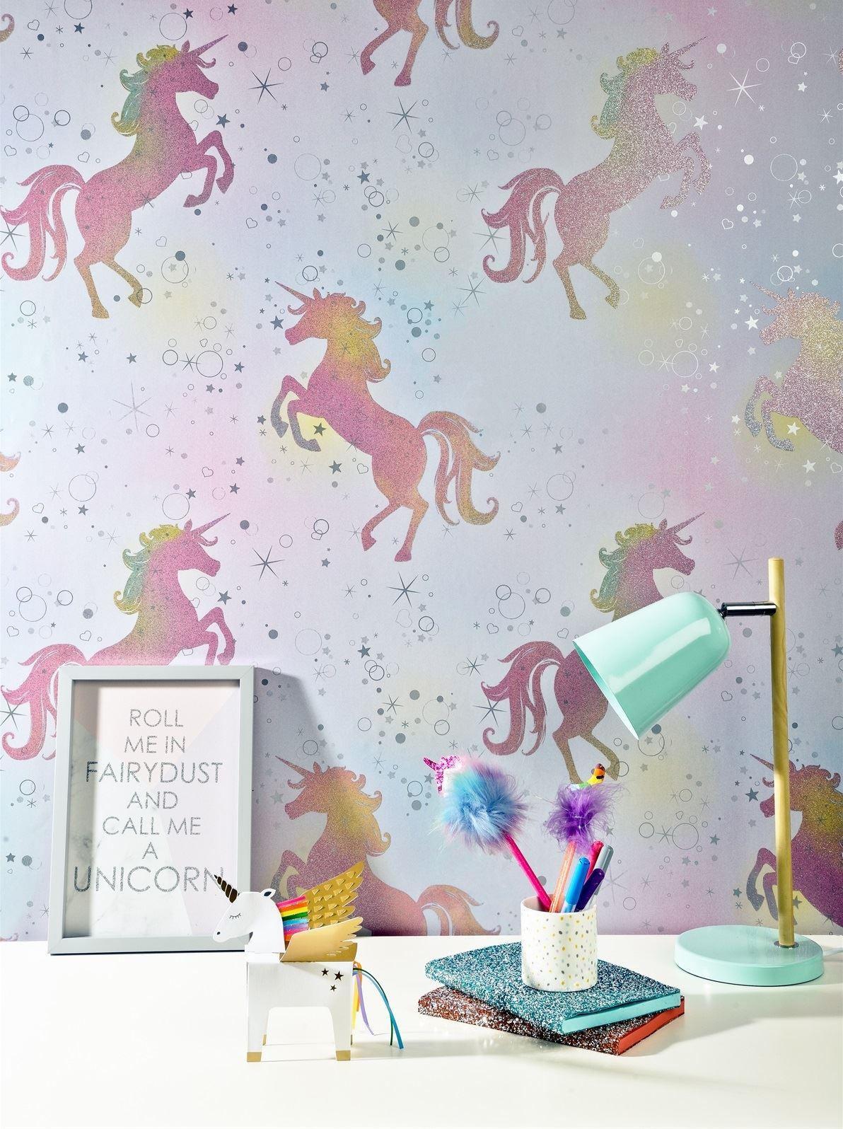 Girls-Unicorn-Wallpaper-Children-039-s-Pink-White-Glitter-Rainbow-Butterflies-Floral thumbnail 3