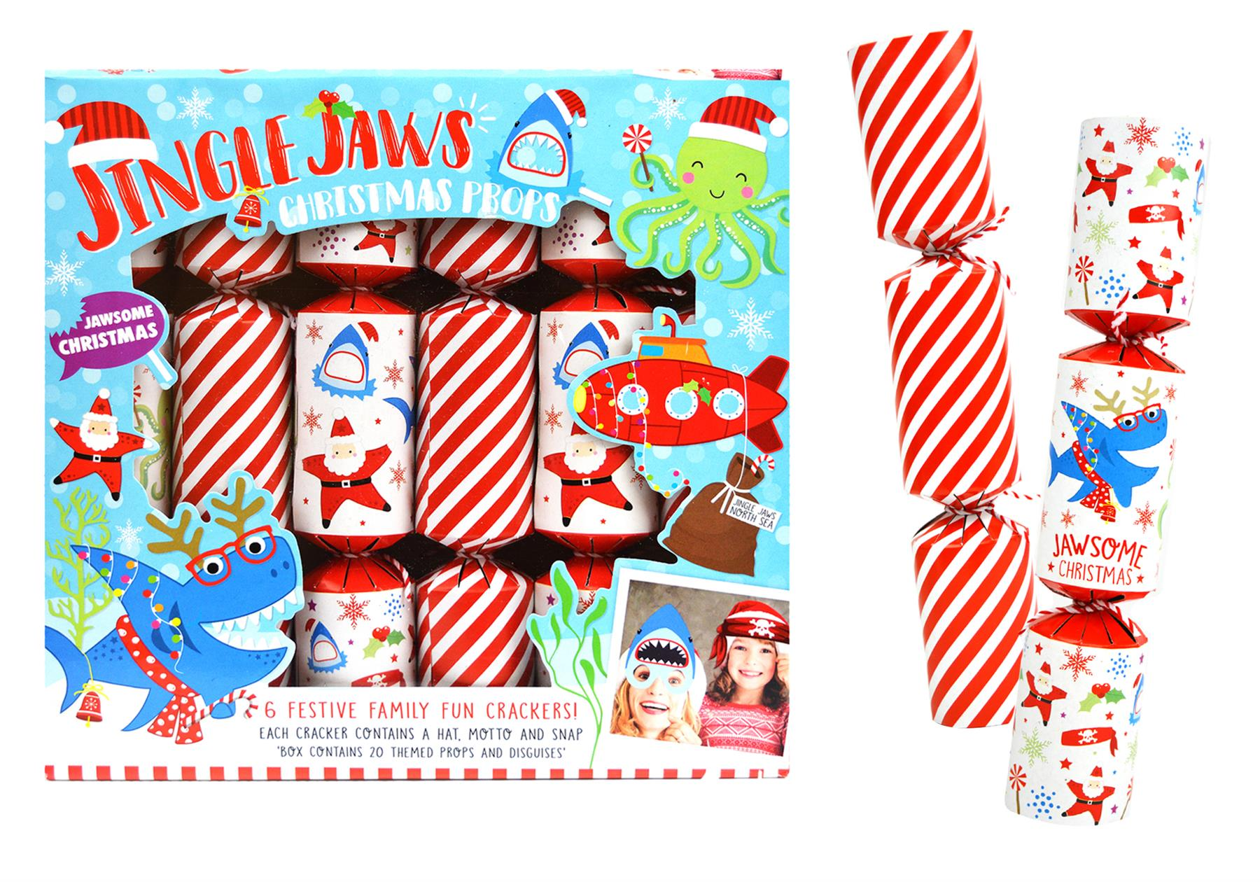 Christmas Crackers Hat.Details About 6 Christmas Crackers 20 Props Xmas Game Kids Shark Table Fun Gifts Hats Santa