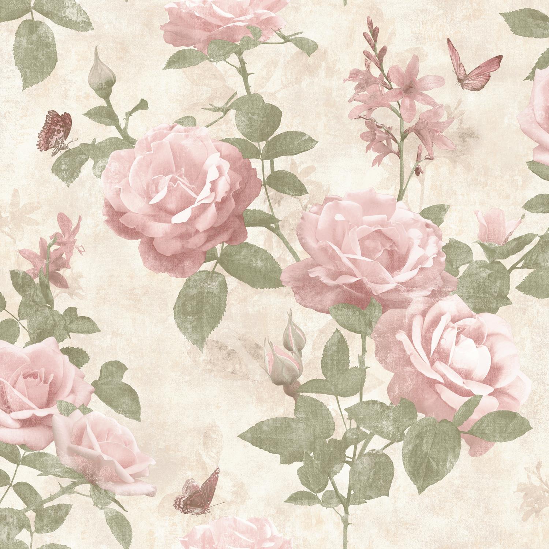 Rasch Vintage Rose Floral Wallpaper Blush Pink Cream Fabric Effect
