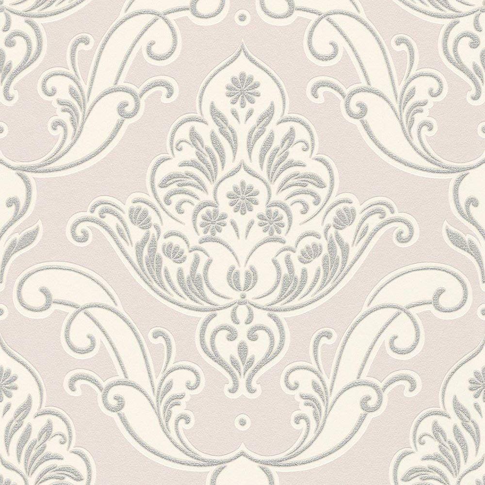 Rasch Gatsby Pink Silver Damask Wallpaper Ornamental Glitter