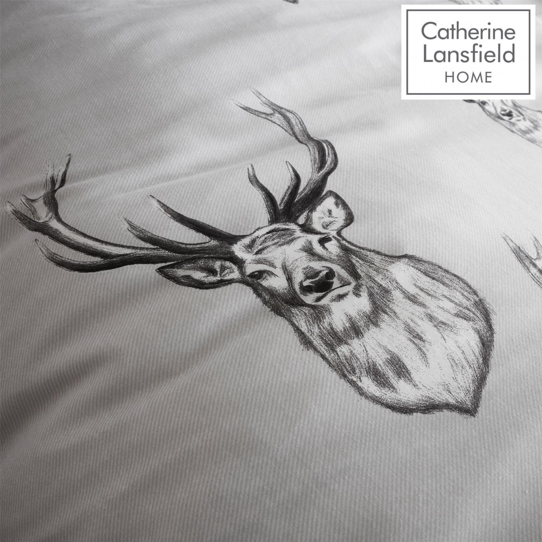 Catherine-Lansfield-Duvet-Set-Highland-Stag-Reversible-Check-Bedding-Grey thumbnail 8