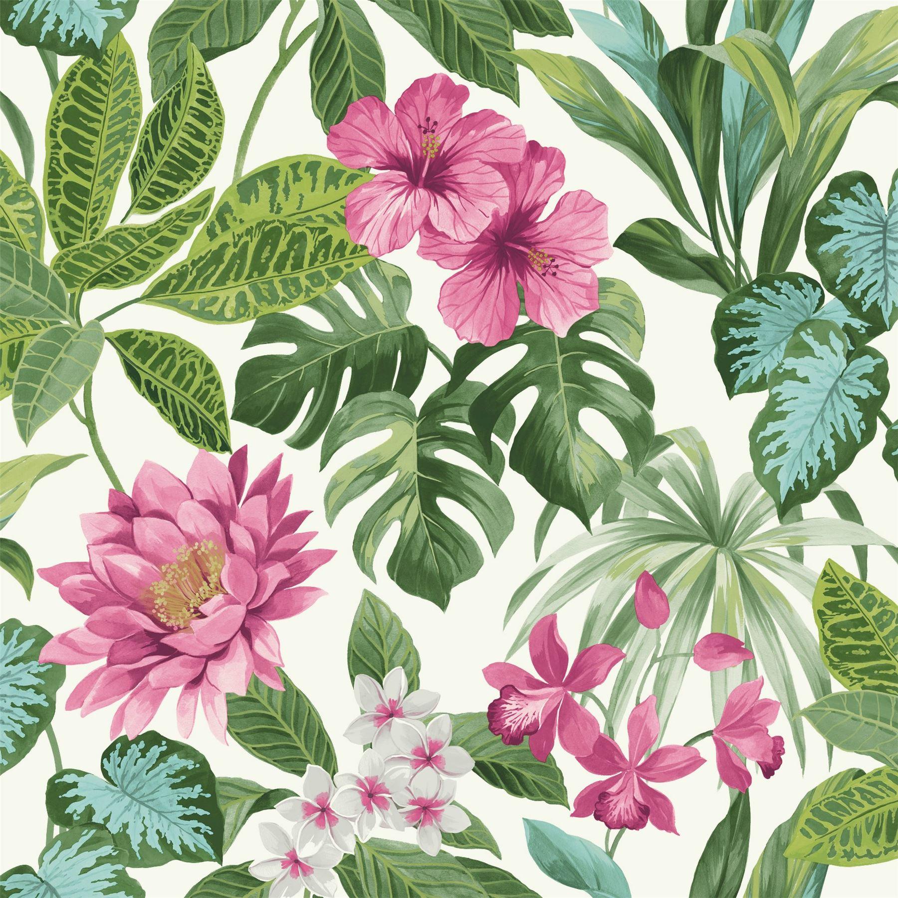 details about tropica rainforest palm leaf floral wallpaper flower green pink white fine decor