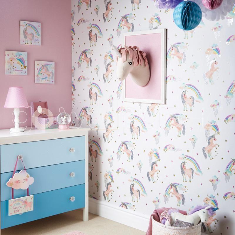 Girls-Unicorn-Wallpaper-Children-039-s-Pink-White-Glitter-Rainbow-Butterflies-Floral thumbnail 36