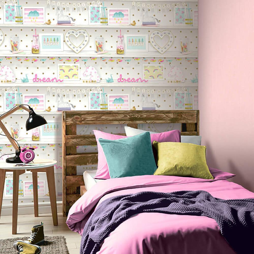 Girls-Unicorn-Wallpaper-Children-039-s-Pink-White-Glitter-Rainbow-Butterflies-Floral thumbnail 29